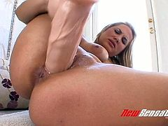 Sweet fair haired hottie Alanah Rae pounds her snatch with fake thick cock