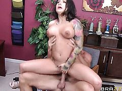 Charity Bangs with giant knockers loves to suck and cant say No to her hot bang buddy Johnny Sins