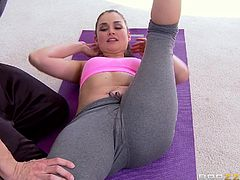 Keeping fit and playing naughty can be really fun! Allie knows that perfectly. The brown-haired babe with small tits is helped by her partner to become more flexible. The slutty bitch combines the exercises for strengthening her leg muscles with kinky activities, such as sucking cock. Watch all!