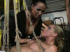 Blonde Kathia Nobili with gigantic jugs loses control in lesbian frenzy with Mandy Bright