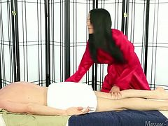 Raven haired torrid sweetie pleases her horny bald dude with solid BJ in massage parlor