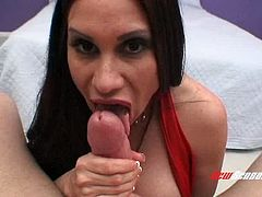 Jaw dropping brunette sexpot Sheila Marie is nailed doggy by Mike Andiano