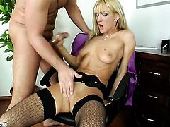 Cherry Cream with trimmed muff gets her love box nailed with no mercy by dudes rock hard schlong