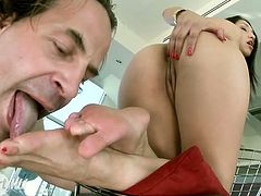 Jaw dropping slim brunette leans over the table to be fucked from behind