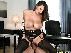 Milf brunette in lingerie loves dicks