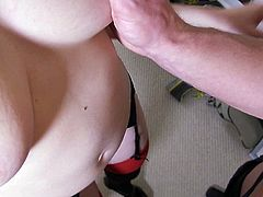 Attractive chick Samantha Bentley in sexy red and black stockings exposes her nice butt by the window and bares her juicy natural boobs before cock sucking. Watch nice stacked girl give head.