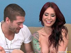 Flirty tattooed redhead Monique Alexander with sexy boobs takes off her white dress and black nylons before she slaps here trimmed pussy with smile on her face, She does it for curious Xander Corvus to watch!