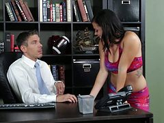 She really wants a raise because she really wants to buy some new shoes. So she visits the boss. He says no, but after having sex in office, he says yes!