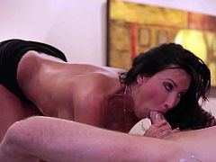 Buxom dark haired MILF Lezley Zen in high heels gives unthinkable cock massage to lucky guy before she takes his meat pole up her dripping wet pussy. This hot bodied big tit MILF is fucking horny!
