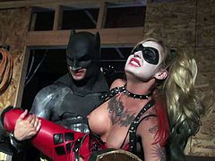 Pigtailed blonde Kleio Valentien dressed in black and red gets gets her hole drilled hard from behind after cock sucking in Batman XXX parody. She takes rock solid dick balls deep!