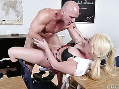 Alexis Ford with huge knockers has a good time having sex with horny bang buddy Johnny Sins
