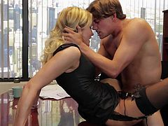 Office sex with blonde in black Jessica Drake