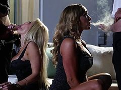 Destiny Dixon and Helly Mae Hellfire get down on their knees and suck hard dicks back to back in foursome action. These horny ladies are cock sucking addicts that cant get enough.