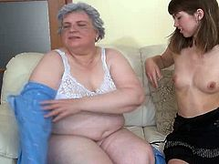 Disgusting old chubby grey haired slut sucks small tits of fresh girlie