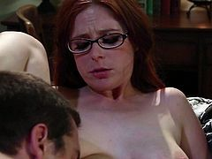 Naturally titted redhead with glasses Penny Pax spend evening in bed with hot guy. She licks and sucks his nice dick with passion before he bangs her tight wet hole in spoon position.