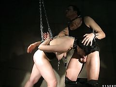 Johanne takes dudes cum loaded pole in her hot mouth