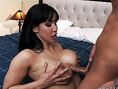 Isis Love with gigantic boobs takes Rocco Reeds cum loaded cock in her wet hole