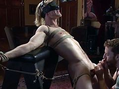 If you're into kinky gay bdsm activities, click to see a dominant man playing rudely with Zach's appetizing cock. The naked blonde-haired stud has been tied up, blindfolded and bonded strongly with inescapable ropes, while his cock is aroused with using sex toys. See the inciting scenario.