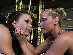 Blonde stunner Kathia Nobili fulfills her sexual desires with Zyna Baby in girl-on-girl action