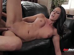 Tanned jaw dropping brunette goddess Nikki Daniels rides strong cock