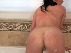 Long haired juicy brunette Taylor Vixen with huge natural tits shows off her nude wet body and drills her hairy snatch with glass dildo in the bath. Watch naturally busty temptress masturbate!