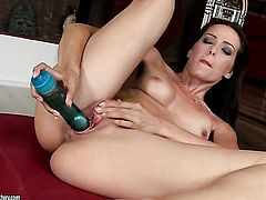 Blonde hooker Sophie Moone is ready to dildo fuck her cunt on cam day and night