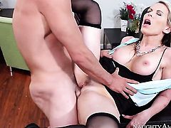 Courtney Cummz with bald beaver is too horny to resist Tyler Nixons throbbing love stick