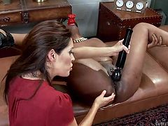 Francesca is a slutty versed milf, who likes to play naughty with other sexy girls. Her companion is a hot ebony lady, who has got lovely big tits. Lisa gets really aroused with the help of sex toys, such as a dildo and a vibrator. Click to watch these bitches getting dirty!