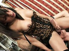 Brunette chicana Luana Varella with huge melons has back yard sex session of her lifetime