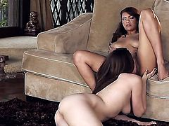 Cassidy Banks is shown close up as she licks one of her friends. She enjoys lesbian action very much. It can be seen in her eyes in this steamy video.