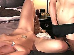 After listening to this musician perform, brunette  Brooklyn Lee gets really wet and horny. She follows him to his hotel room, where she gets her pussy licked and fucked.