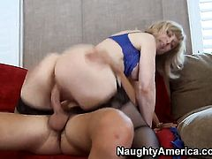 Seth Gamble uses his erect rod to bring Nina Hartley with phat ass to the edge of nirvana