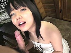 Young Japanese porn star Airi Minami does her best to make hot guy happy. She strokes his cock, sucks his balls and licks his nipples. This lovely asian doll is hungry for sperm!