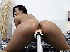 Luna Star with huge dildo machine
