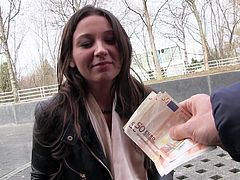 European brunette next door Julie Skyhigh in short dress flashes her tits and panties before she gets down on her knees to give blow job in public place for money. Shes natural born cock sucker!