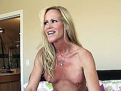 Good looking milf blonde Simone Sonay with fake boobs and shaved snatch shows her love for hardcore sex in the bedroom. Richie Black drills her wet cunt like theres no tomorrow.