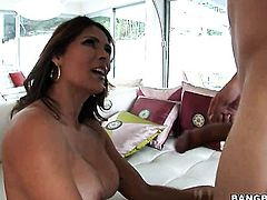 Good looking chica minx Monique Fuentes with round booty gets covered in cream on camera for your viewing pleasure