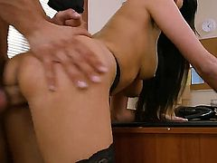 Hot bodied big racked brunette Anissa Kate in black stockings shows off her gorgeous body as she gets her trimmed bush seriously fucked by her horny as hell co-worker. Watch big titted lady get nailed.