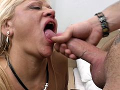mature lady gets her mouth covered in cum