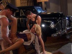 Jessica Drake is a sexy wealthy woman with nice boobs and neat tight pussy. Car driver bangs her twat and theres another cock for her to take in MMF threesome. She gets double teamed beside a car.