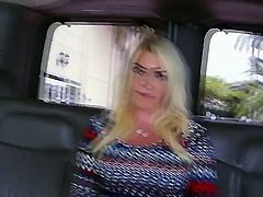 This is one of those blowjob movies filmed in the bus. A blonde girl with huge natural bazongas is getting fucked by a well built guy in the back of the bus, thats moving at full speed through the streets.