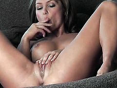 Heather Vandeven with massive melons and shaved pussy does striptease before she plays with her cunt