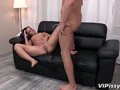 Are you attracted to slutty babes with a kinky pissing fetish, who are just looking forward to suck a hard cock? Watch naughty Emma's small tits and tight pussy, while she gets undressed and dirty. This horny bitch is about to get pounded from behind!