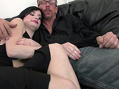 If you're into slutty babes, meet horny Tatiana, a naughty brunette with short hair, desperately asking for cock. You can tell that from her provocative attitude, as she gets undressed and begins to sensually rub her peachy cunt, while comfortably laying on the couch. See the bitch sucking dick and riding it.