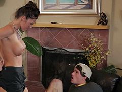 Jennifer Dark uses her huge tits to seduce her husbands son. She has some big ones and he is a tits man, so it is an easy task. She blow jobs him.
