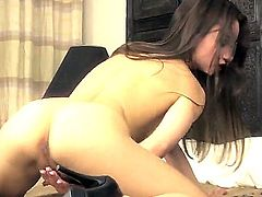 Petite brunette, Taylor Sands is wearing high heels and is about to have some alone time with her trimmed pussy. She takes real good care of that horny little love hole