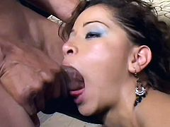 Curly haired Latina beauty had hard threesome with two brutal men