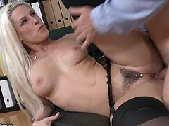 Hot tempered blond chick in stockings had hot mish pose sex in the office