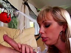 Blonde with natural big tits takes the D