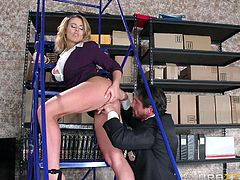 A horny guy follows his hot colleague in the deposit. He's no intention to help her, all he desires is to play with this busty blonde lady, who has been tormenting his dreams ever, since they started working in the same office. Click to see slutty Corinna sucking his dick.